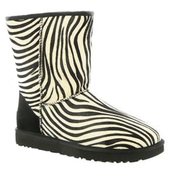 9e8fda19609 UGG Classic Short Exotic Zebra Print Boots. Size 7